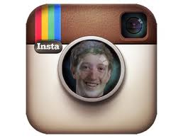 Facebook and Instagram logo with Mark Zuckerberg's face in camera lens