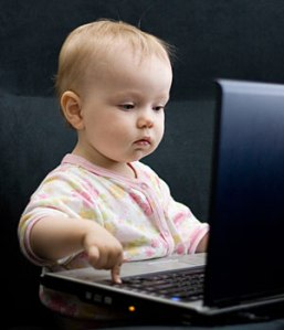 baby using a computer