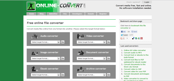 Online-Convert application home page screen shot