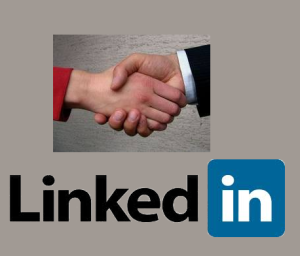 LinkedIn logo with a handshake above it