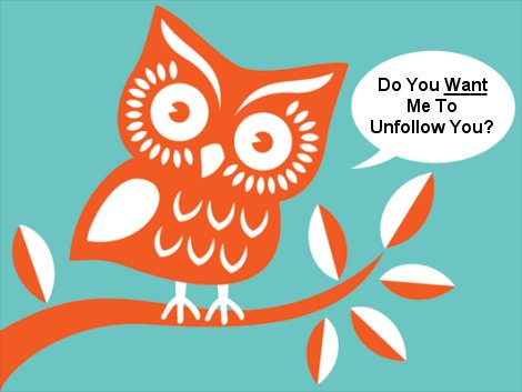 Twitter owl asking about unfollowing