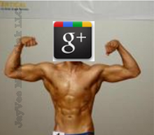 flexing body builder with Google Plus head