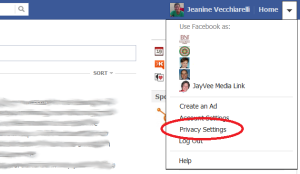 JayVee Facebook profile with edit privacy option shown