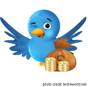 Twitter bird with lots of cash
