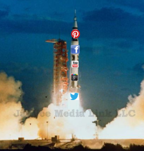 launching rocket covered with social media icons