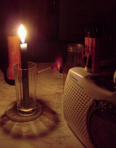 candle flashlights and radio for blackout