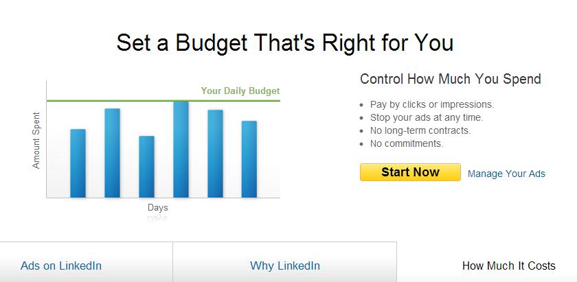 LinkedIn ads page