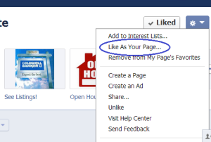 "Facebook ""like as page"" example"
