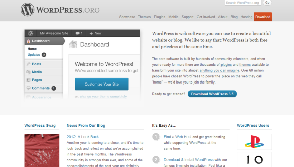 wordpress.org home page screen shot
