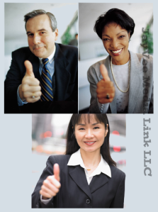 business people giving thumbs up sign