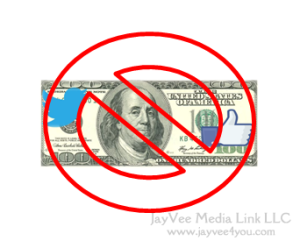 100 dollar bill with twitter and facebook logos