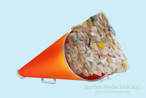 bullhorn overflowing with blog posts