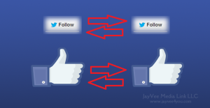 Facebook thumbs up and Twitter follow buttons