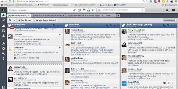 Hootsuite dashboard screen shot