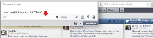 Hootsuite link shortener feature screen shot